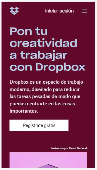 Ejemplos de CTAs Dropbox Inbound Mindset